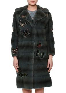 Fur Coat W/Japanese Butterfly Appliqué
