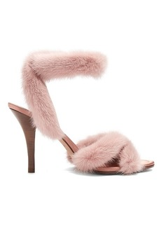 Valentino Fur-trimmed 95mm sandals
