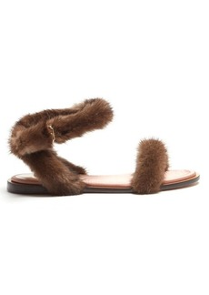 Valentino Fur-trimmed sandals
