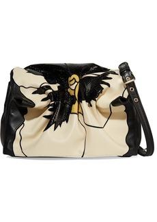 Valentino Garavani Bloomy Floral Leather And Snakeskin-effect Shoulder Bag