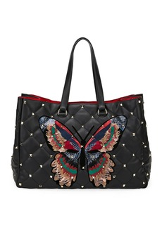 Valentino Garavani Boomstud Butterfly Leather/Snakeskin Tote Bag