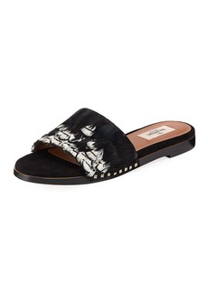 Valentino Garavani Bordado Feather Slide Sandal