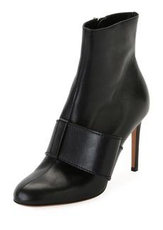 Valentino Garavani Bow-Trim Leather Ankle Boot