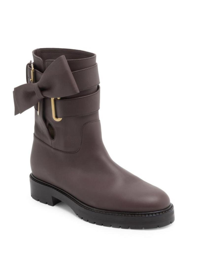 9a009c7beb89 Valentino Bowrap Leather Biker Boots