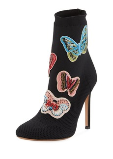 Valentino Garavani Butterfly Beaded Knit Sock Bootie
