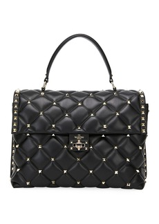 Valentino Garavani Candystud Large Quilted Leather Top Handle Bag