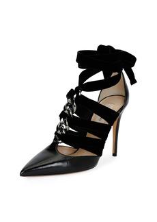 Valentino Garavani Chain Velvet Ankle-Wrap Pump