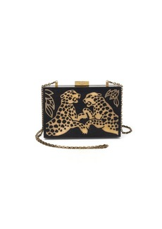 Valentino Cheetah Wood & Metal Clutch