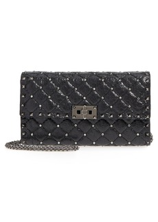 VALENTINO GARAVANI Crystal & Rockstud Spike Leather Shoulder Bag