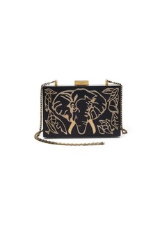 Valentino Elephant Wood & Metal Clutch