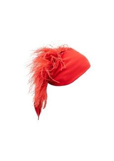 Valentino Garavani Feather-embellished silk-georgette headscarf