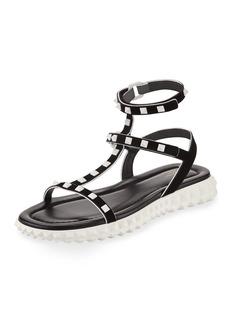 Valentino Garavani Flat Rockstud Flatform Sandal