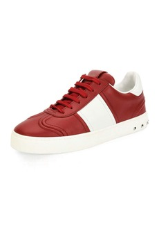 Valentino Garavani Fly Crew Lace-Up Leather Low-Top Sneaker