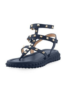 Valentino Free Rockstud Gladiator Thong Sandal w/ Rubber Sole