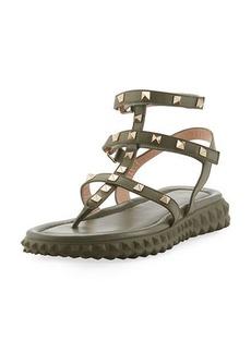 Valentino Garavani Free Rockstud Gladiator Thong Sandal w/ Rubber Sole