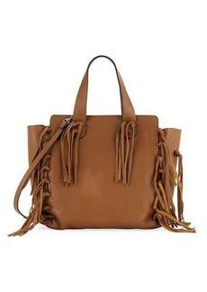 Valentino Garavani Fringe-Trim Leather Tote Bag