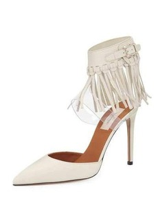 Valentino Garavani Fringed Ankle-Strap Leather Pump