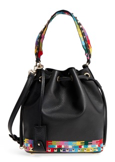 VALENTINO GARAVANI Geo Embroidery Leather Bucket Bag