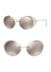 Valentino Glamtech 52MM Mirrored Round Sunglasses