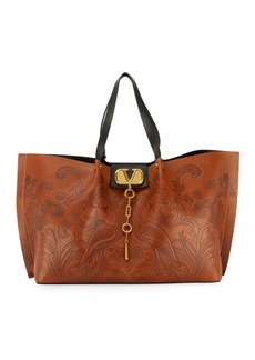 Valentino Garavani Go Logo Escape Embossed Tote Bag  Brown