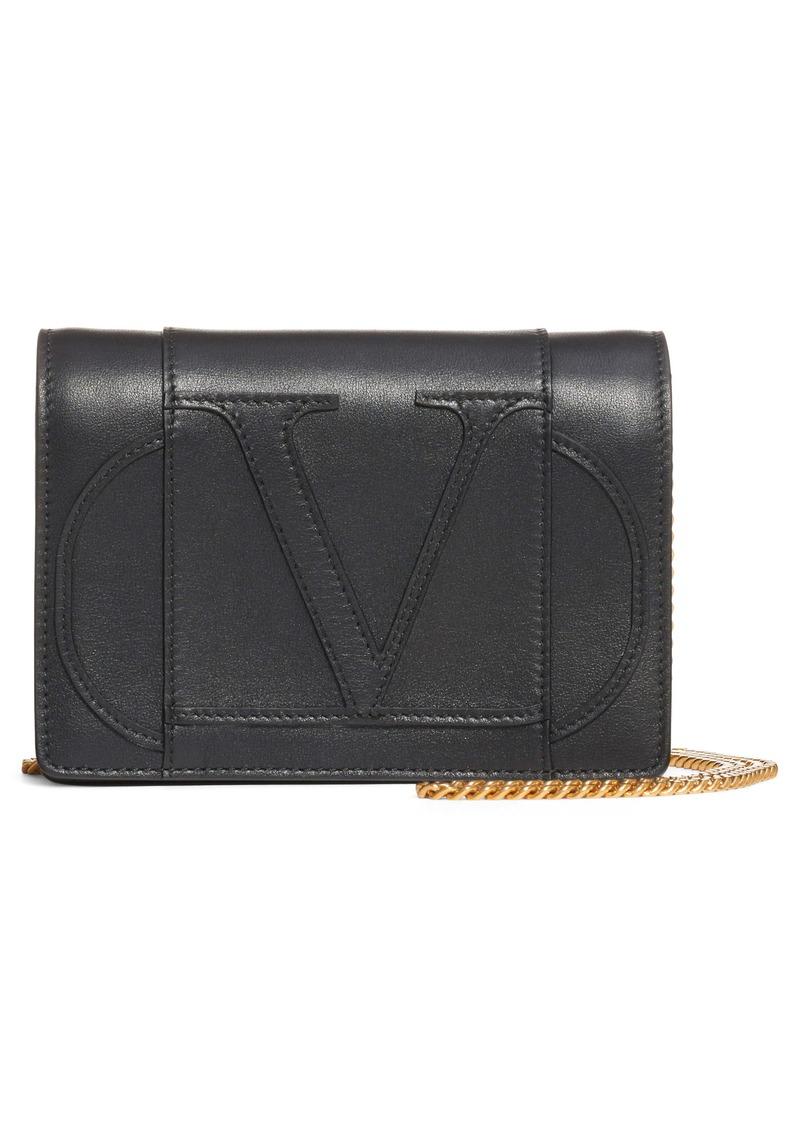 Valentino Garavani Go Logo Leather Wallet on a Chain