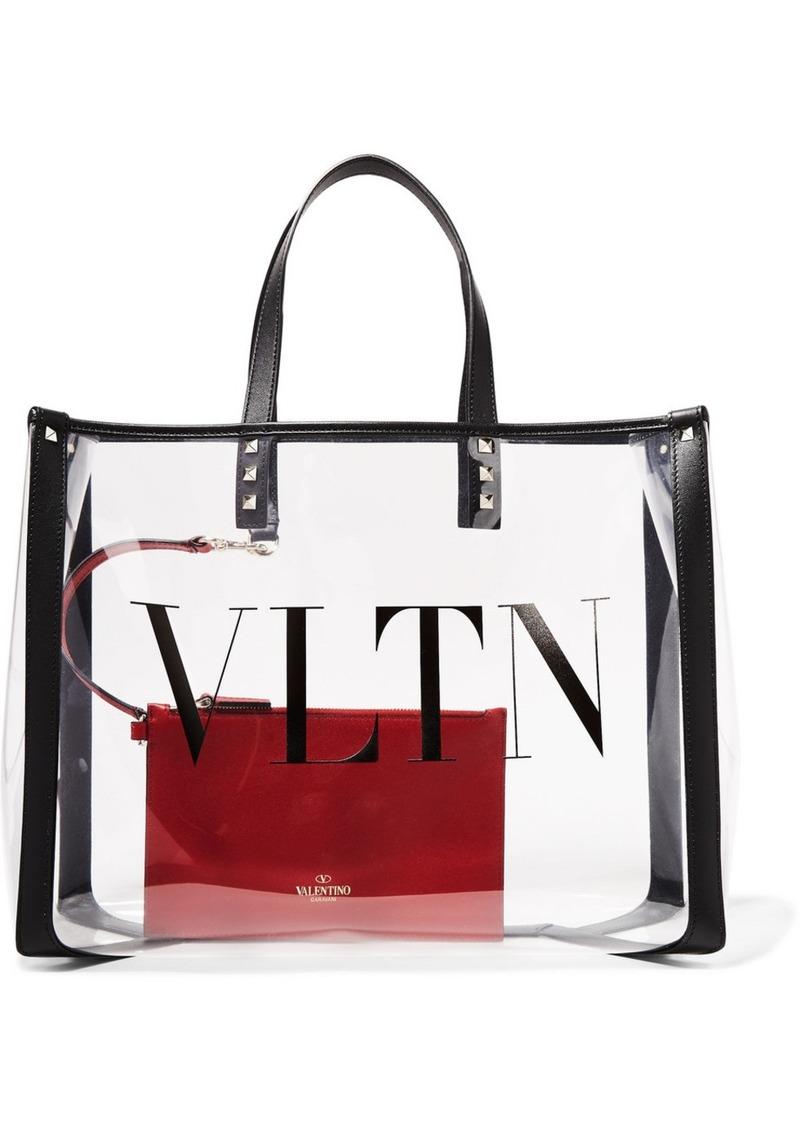 Valentino Garavani Grande Plage Small Leather-trimmed Printed Pvc Tote
