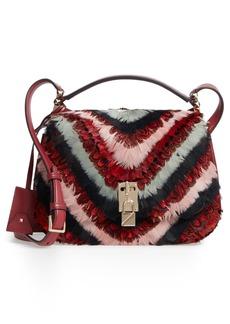 VALENTINO GARAVANI Large Pieper Leather & Feather Saddle Bag