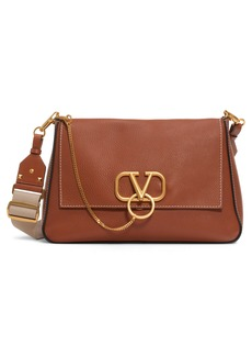 Valentino Garavani Large V-Ring Leather Shoulder Bag