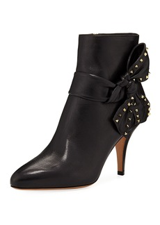 Valentino Garavani Leather Ankle Booties with Side Bow