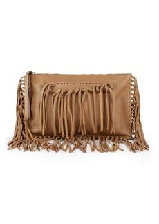 Valentino Garavani Leather Fringe Clutch Bag