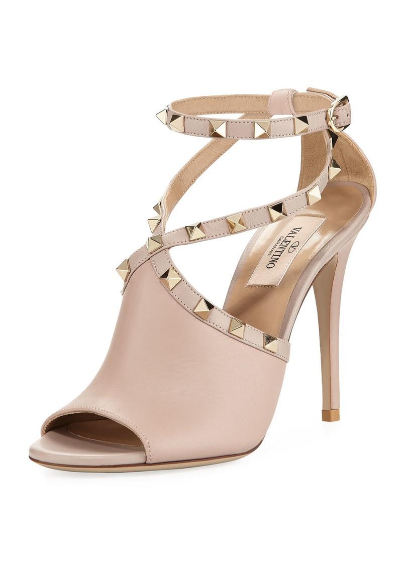 6b3cced7be58 Valentino Valentino Garavani Leather Rockstud Ankle-Wrap Sandal