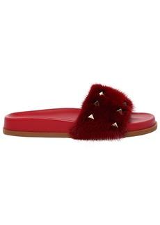 Valentino Garavani Lock Fur Slide Sandal