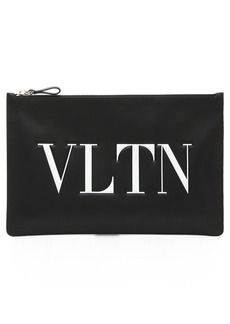VALENTINO GARAVANI Logo Graphic Flat Leather Pouch