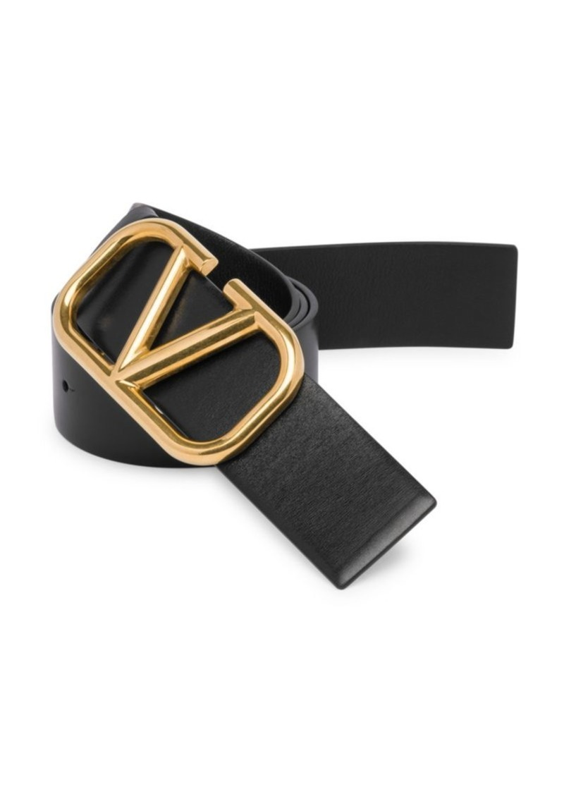 Valentino Garavani Logo Hardware Leather Buckle Belt