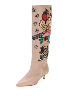 Valentino Garavani Loveblade Twist-Heel Embellished Knee Boot