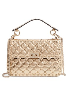 VALENTINO GARAVANI Matelassé Rockstud Spike Leather Top Handle Bag