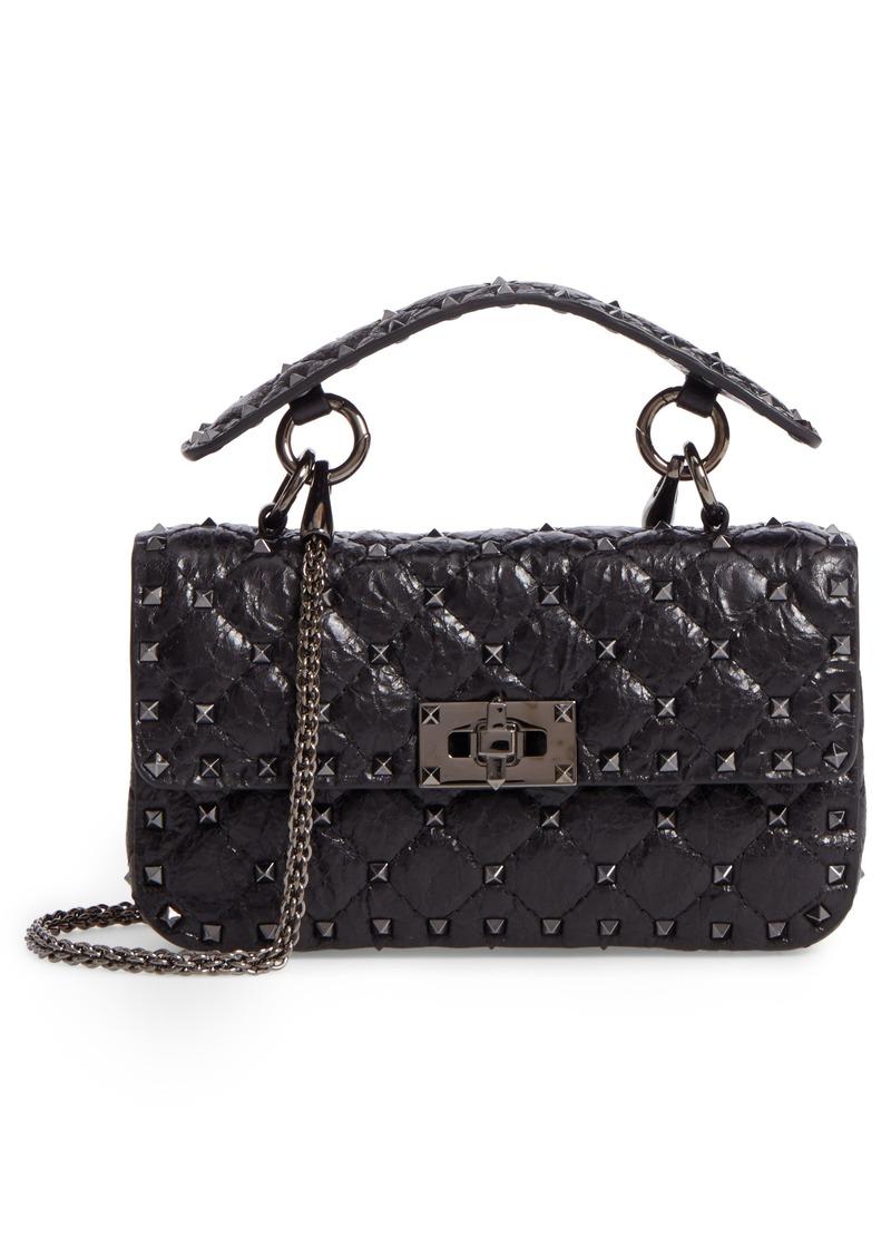 VALENTINO GARAVANI Matelassé Small Rockstud Spike Leather Top Handle Bag d61887ed13