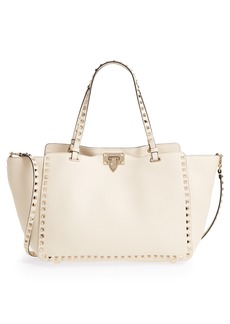 VALENTINO GARAVANI Medium Rockstud Leather Double Handle Tote