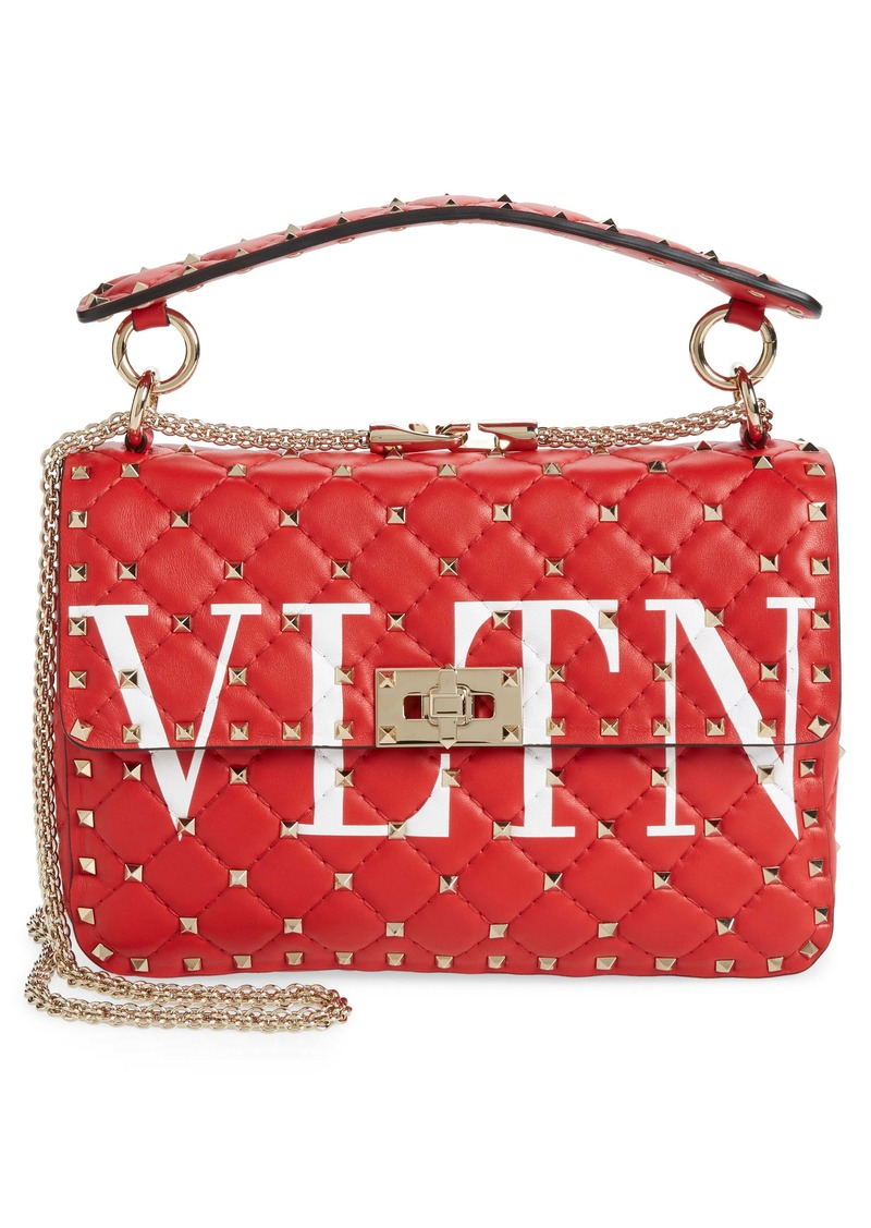 Valentino Garavani Medium Spike.It VLTN Logo Leather Shoulder Bag