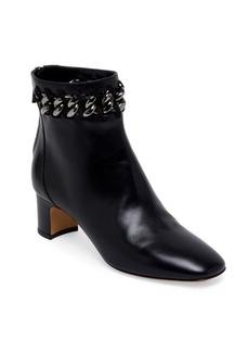 VALENTINO GARAVANI Metal-Weave Leather Block Heel Booties