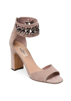 Valentino Garavani Metal-Weave Suede Block Heel Sandals