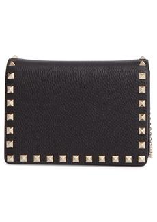 VALENTINO GARAVANI Mini Rockstud Leather Wallet on a Chain