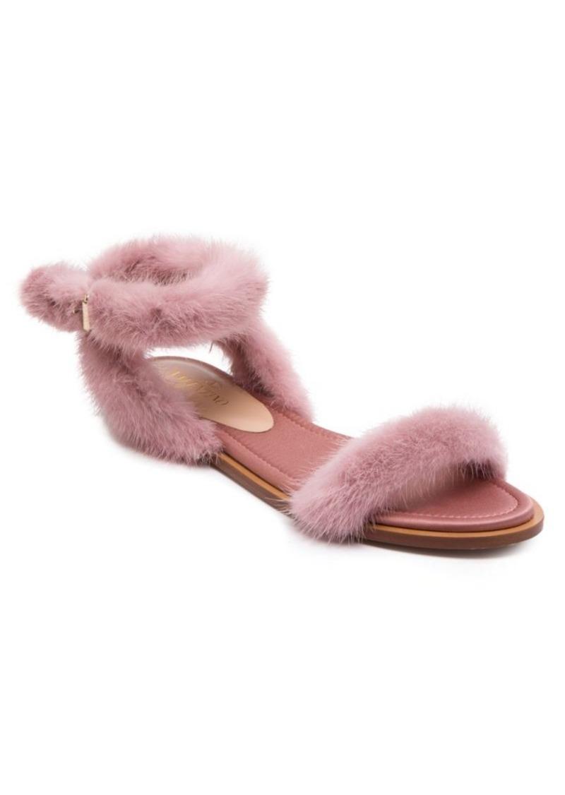 3243293b884f Valentino Mink Fur Ankle-Strap Sandals Now  550.00