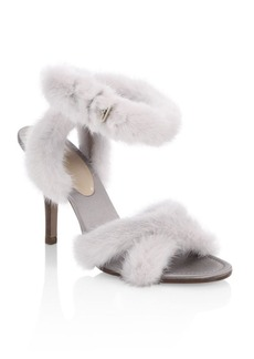 VALENTINO GARAVANI Mink Fur Crisscross Sandals