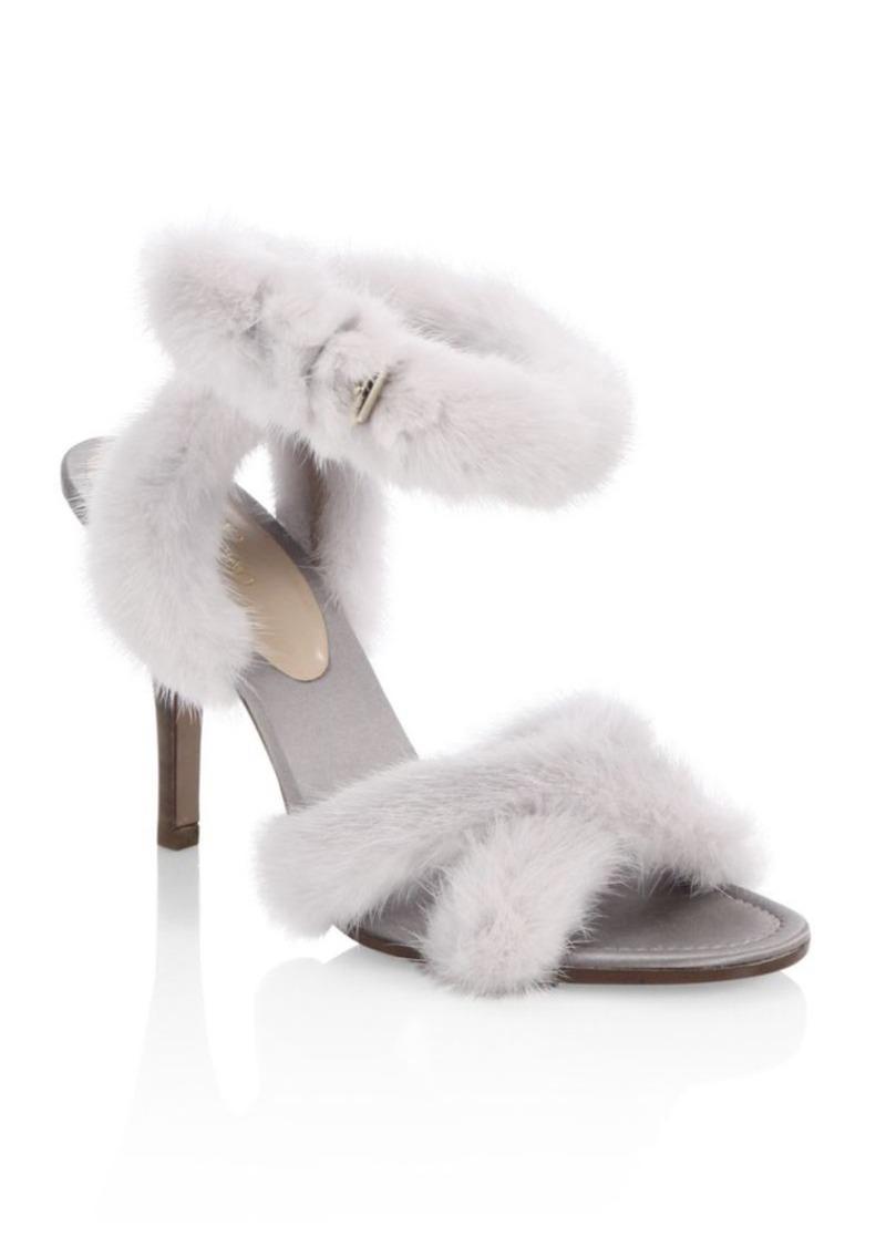 1c6d0fdbe5d8 SALE! Valentino Valentino Garavani Mink Fur Crisscross Sandals