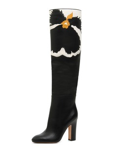 Valentino Garavani Pansy Bloom Leather Knee Boots