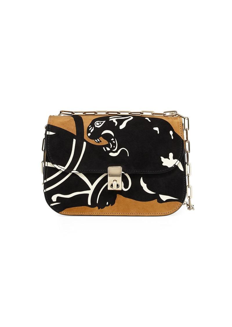 Valentino Valentino Garavani Panther Suede Chain Shoulder Bag