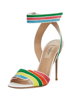 Valentino Rainbow Ankle-Wrap High Sandals