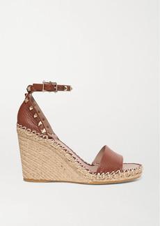 Valentino Garavani Rockstud 105 Textured-leather Espadrille Wedge Sandals