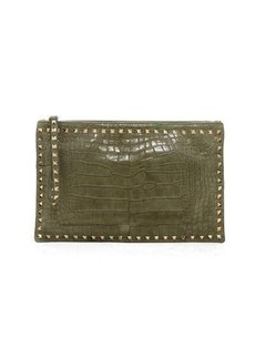 Valentino Garavani Rockstud Alligator Clutch Bag